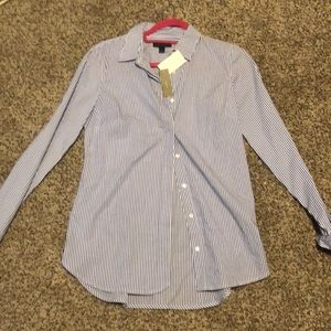 NWT jcrew blue and white stripped dress shirt